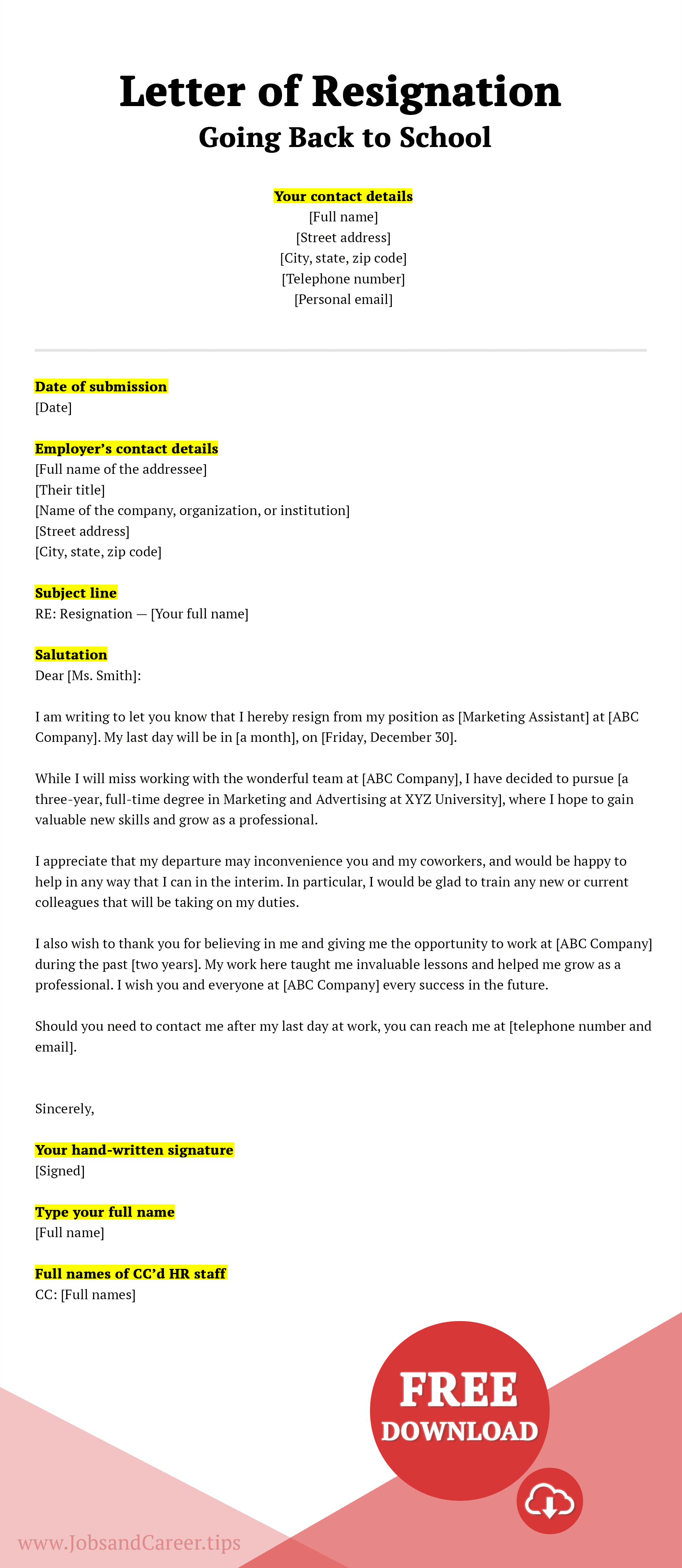 Click to download a going back to school resignation letter example