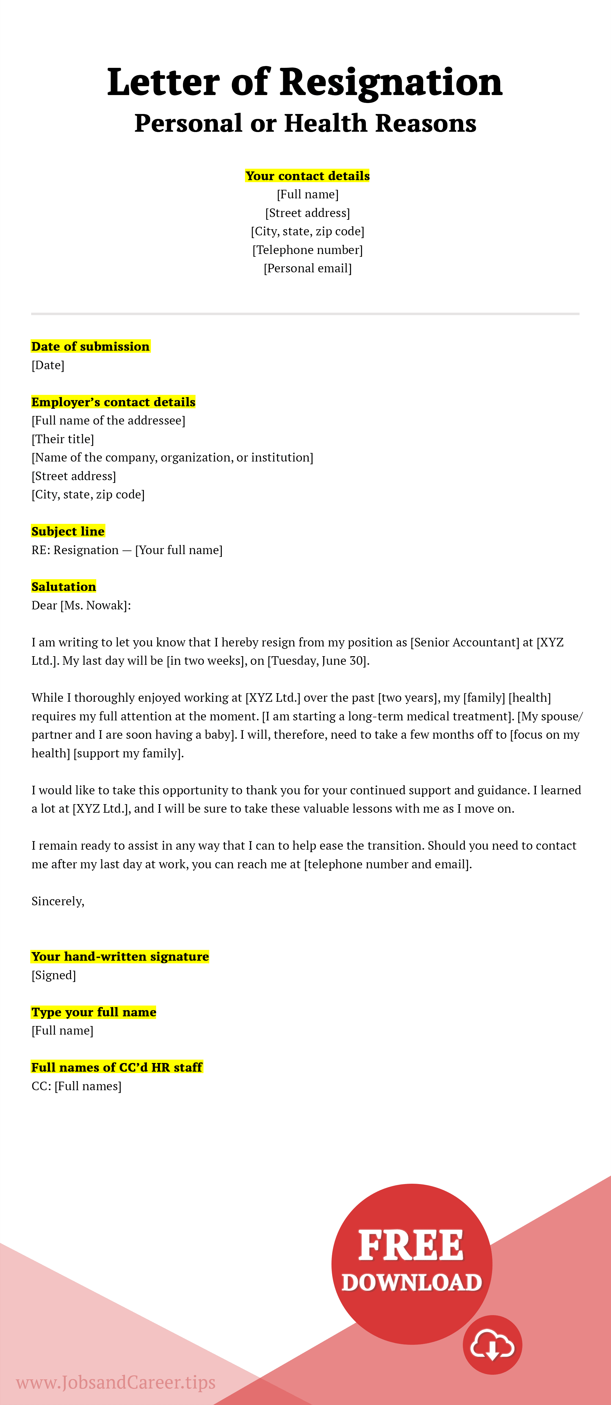 Click to download resignation letter due to personal or health reasons template