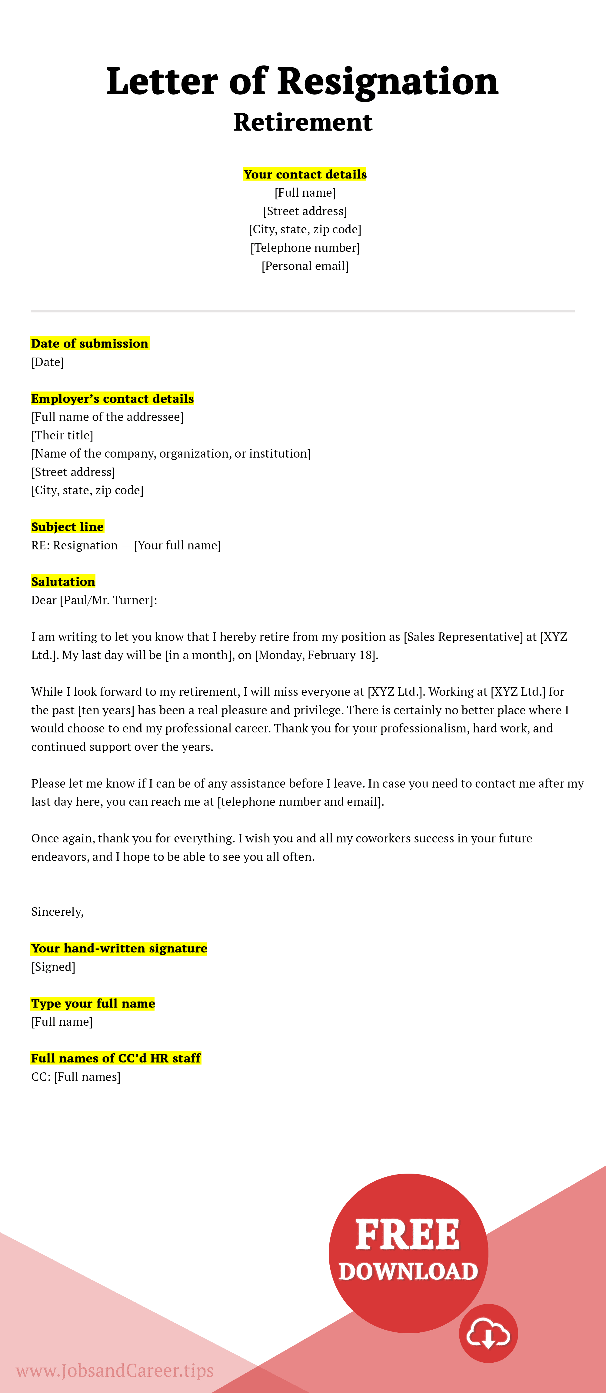 Click to download retirement resignation letter template