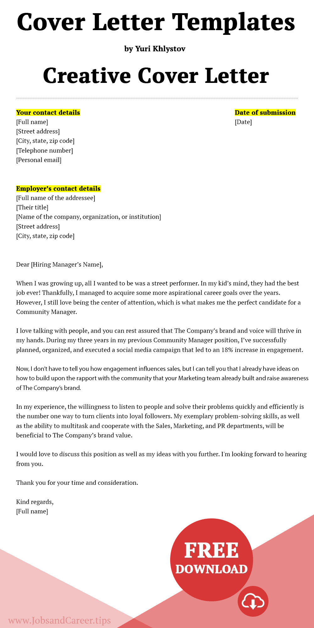 Click to download the creative cover letter template