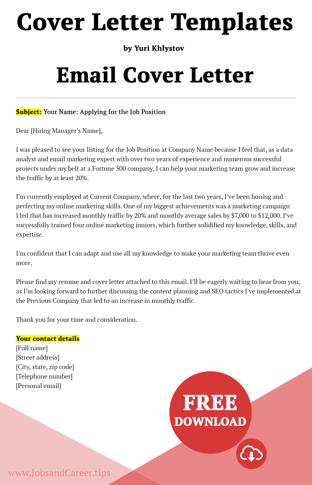 Click to download email cover letter template