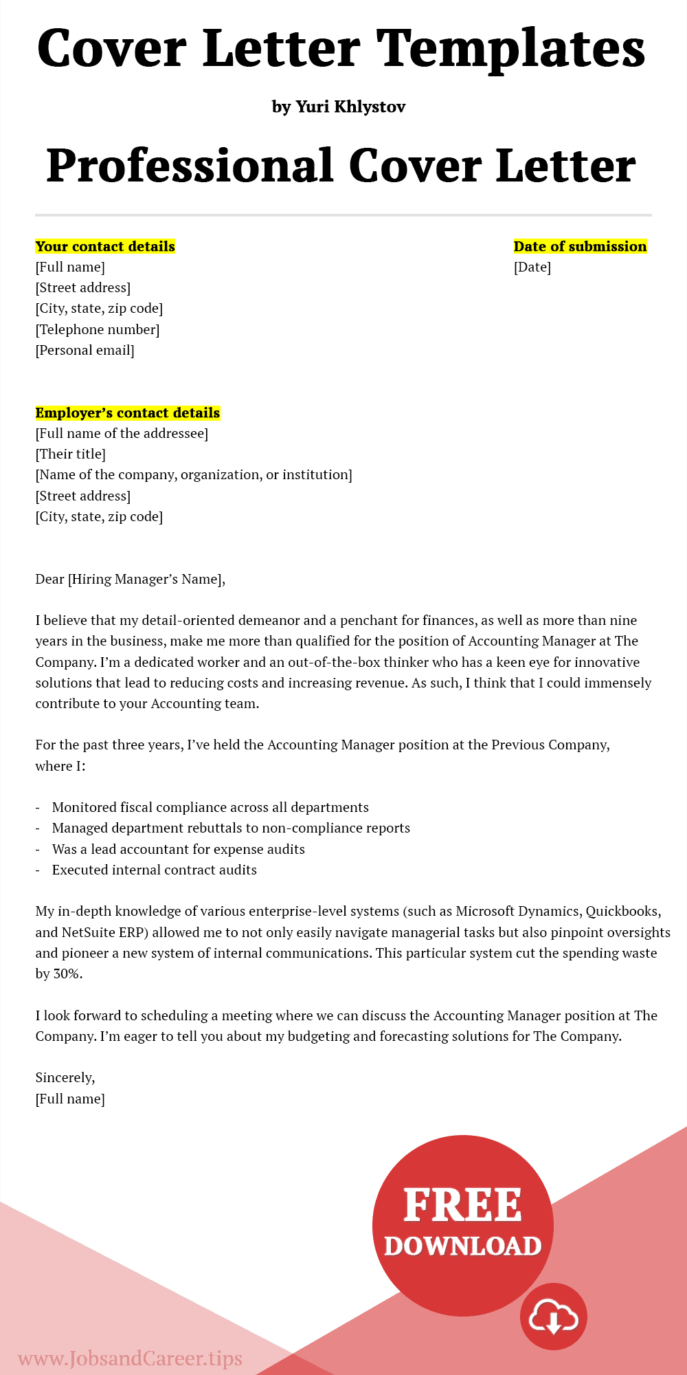 Click to download the professional cover letter template