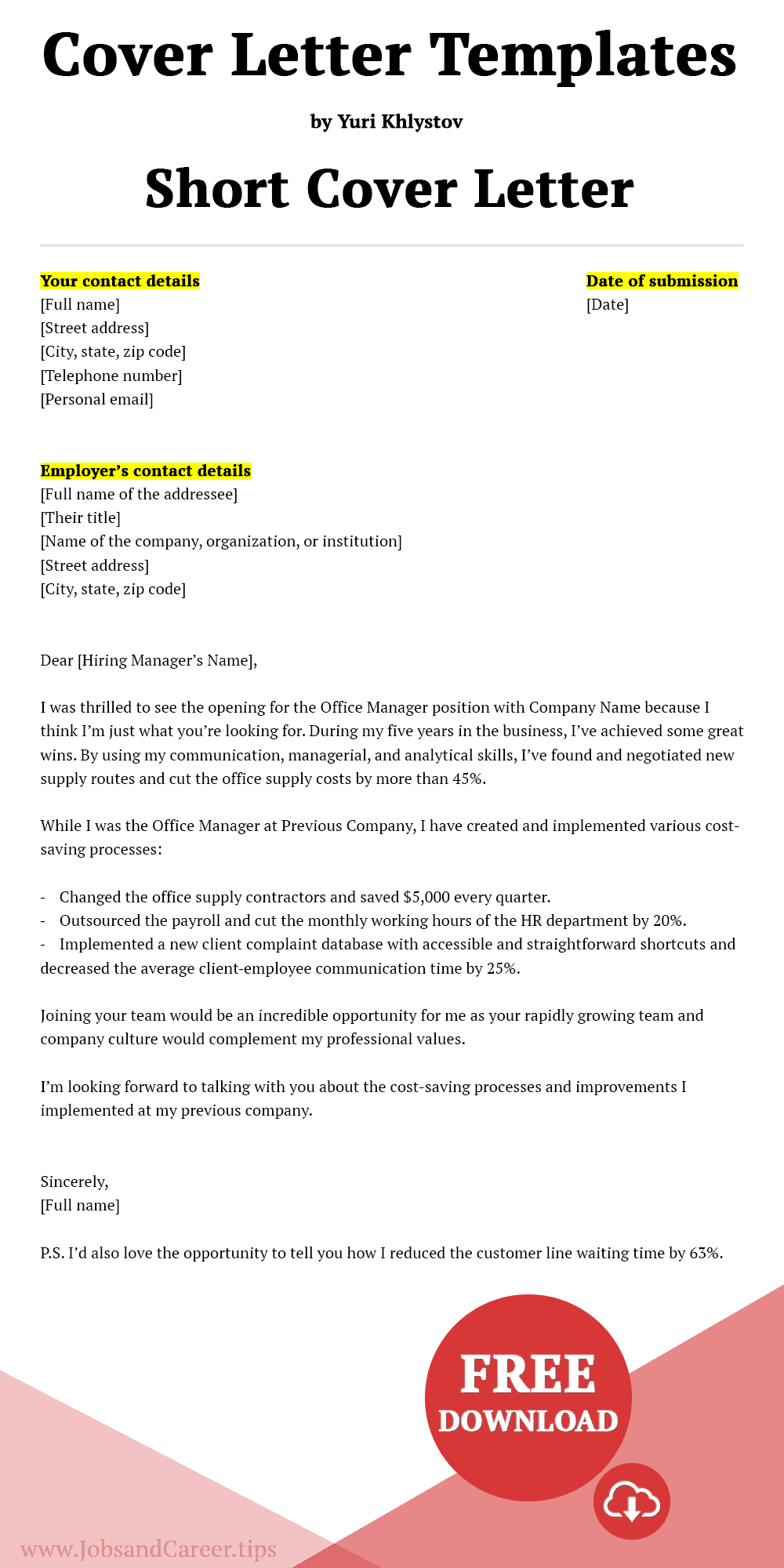 Click to download short cover letter template