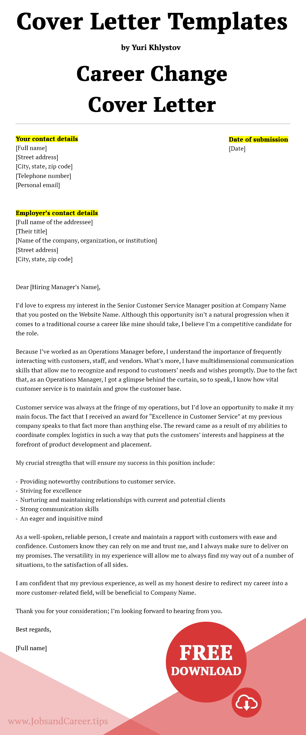 Click to download the career change cover letter template