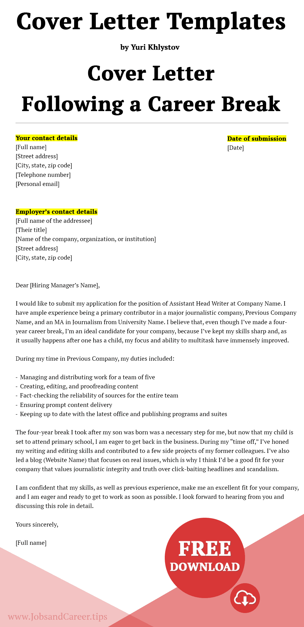 Click to download the cover letter following a career break