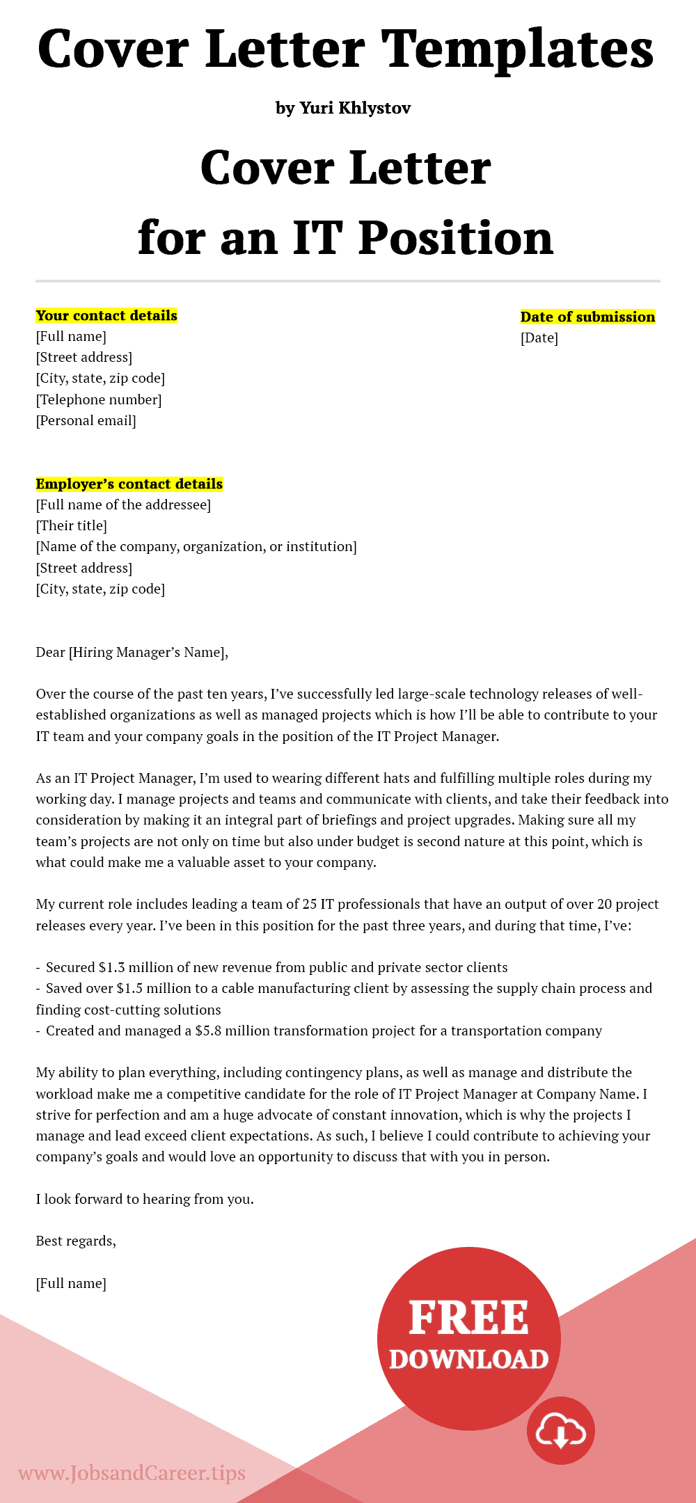 Click to download the cover letter for an IT position