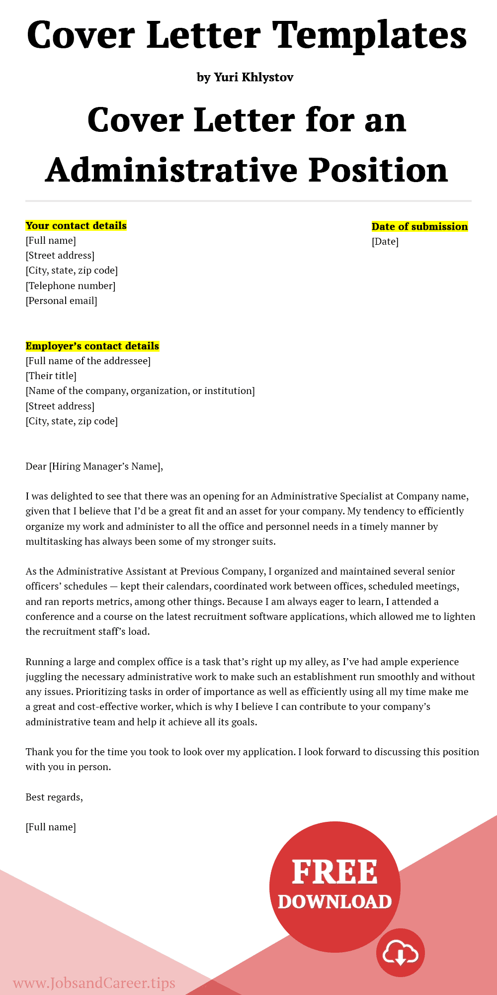 Click to download the cover letter for an administrative position