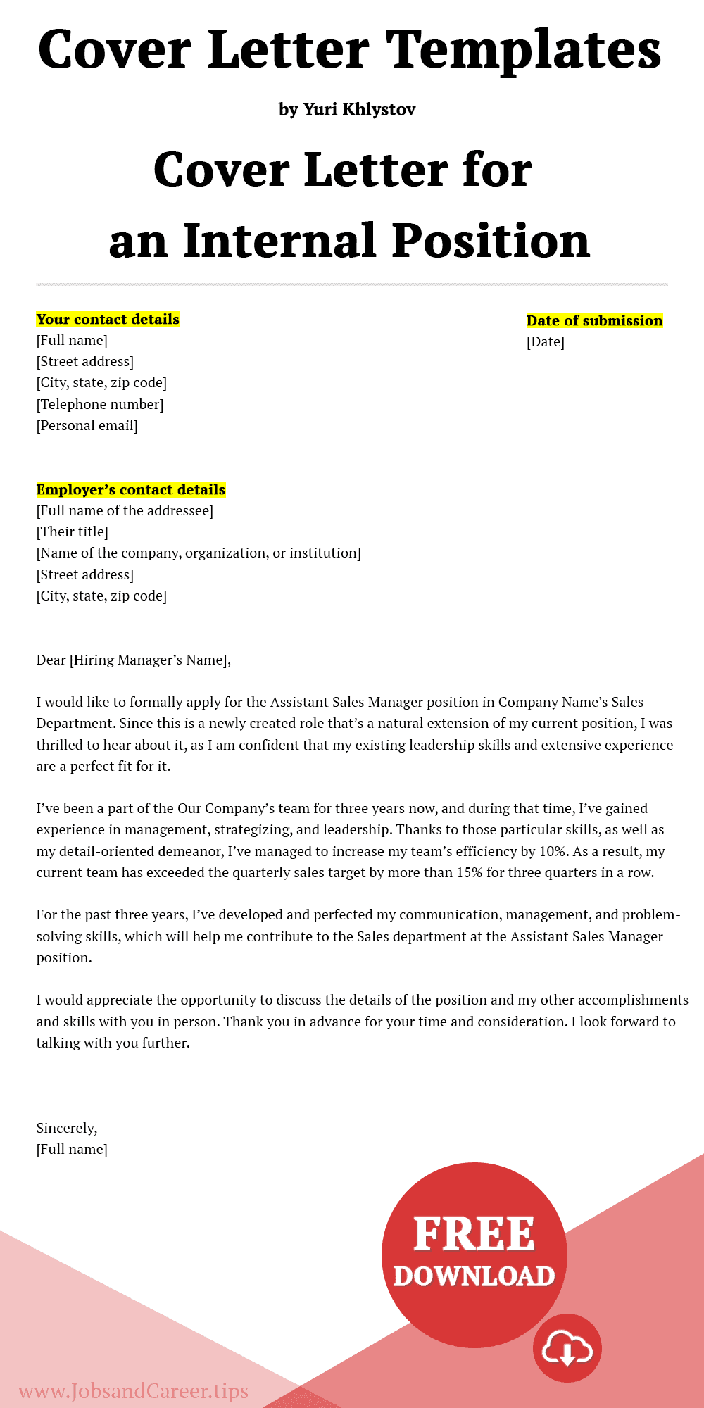 Click to download the cover letter template for an internal position