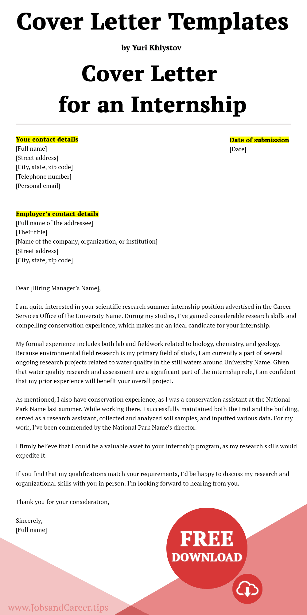 Click to download the cover letter for an internship