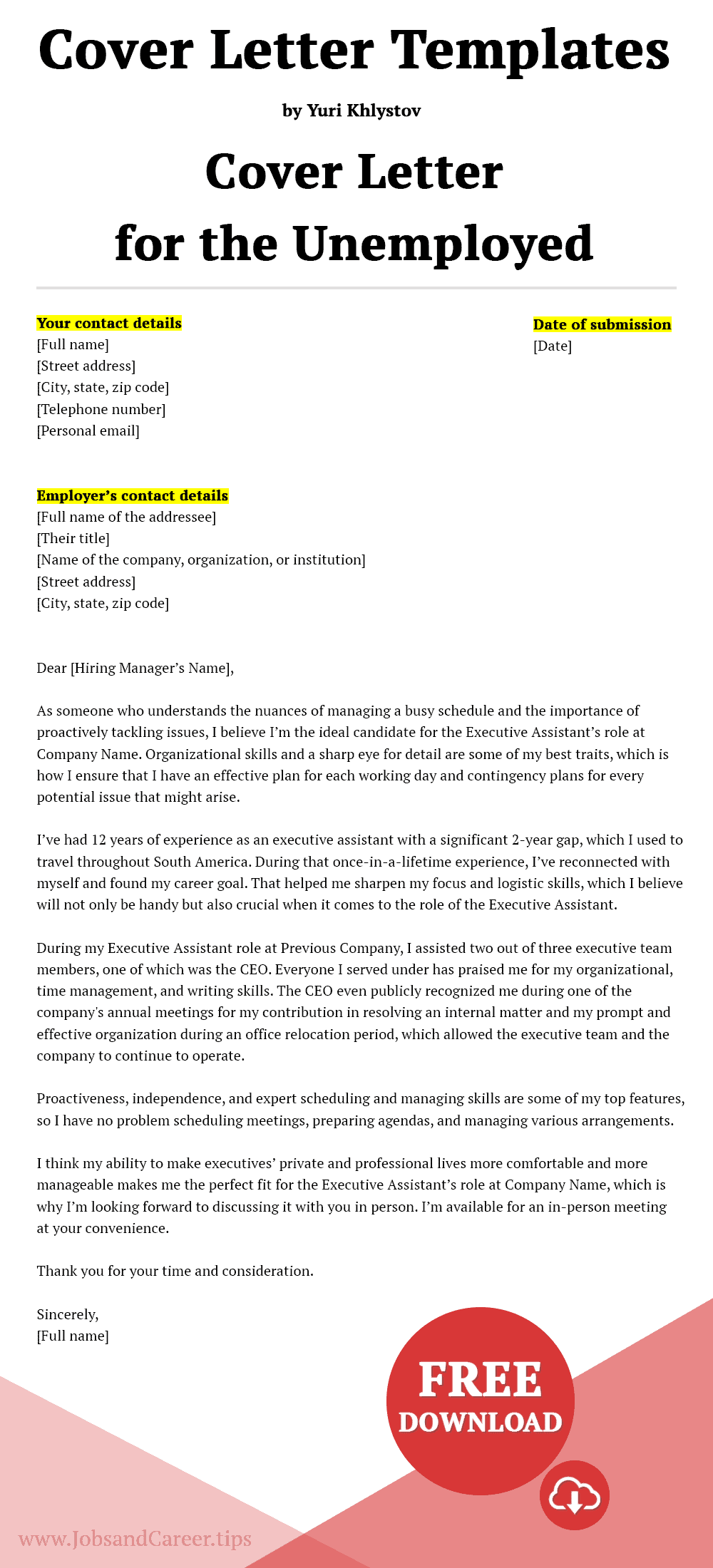 Click to download the cover letter template for the unemployed