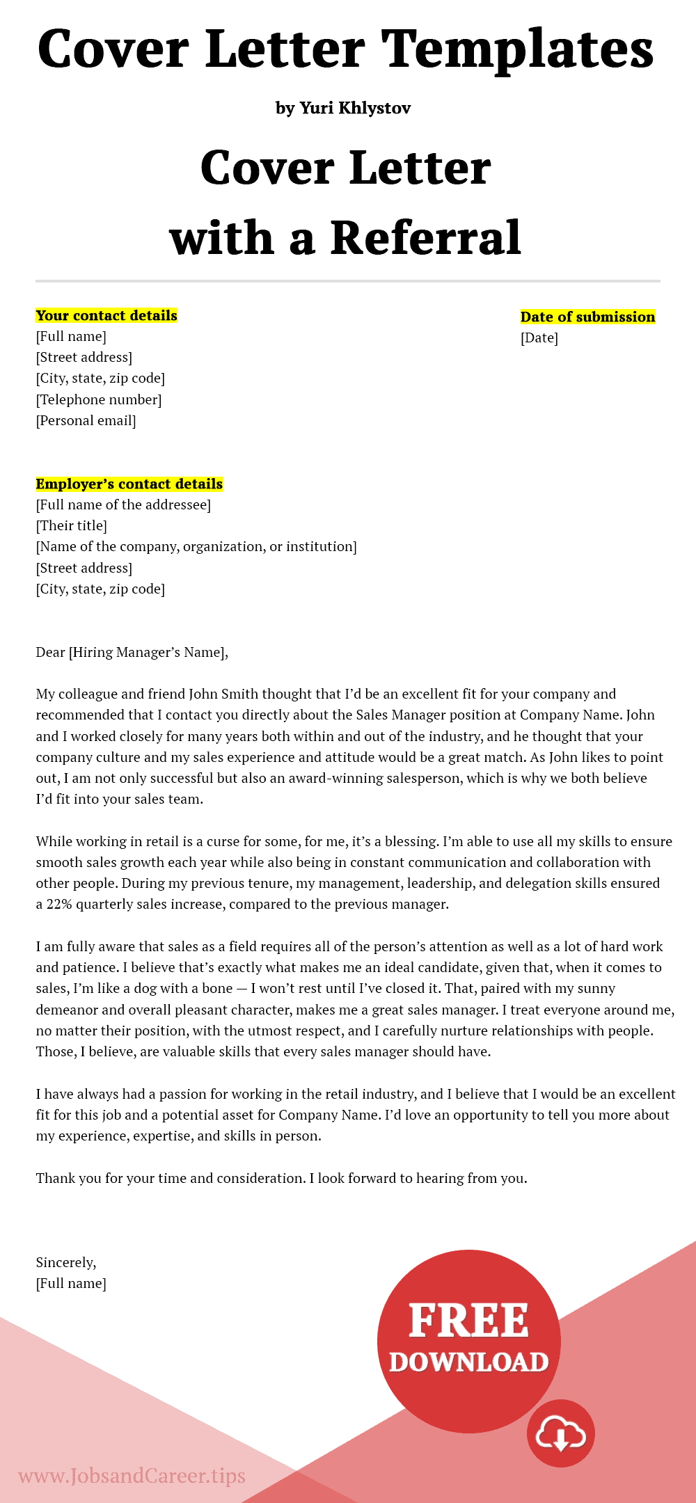 Click to download the cover letter template with a referral