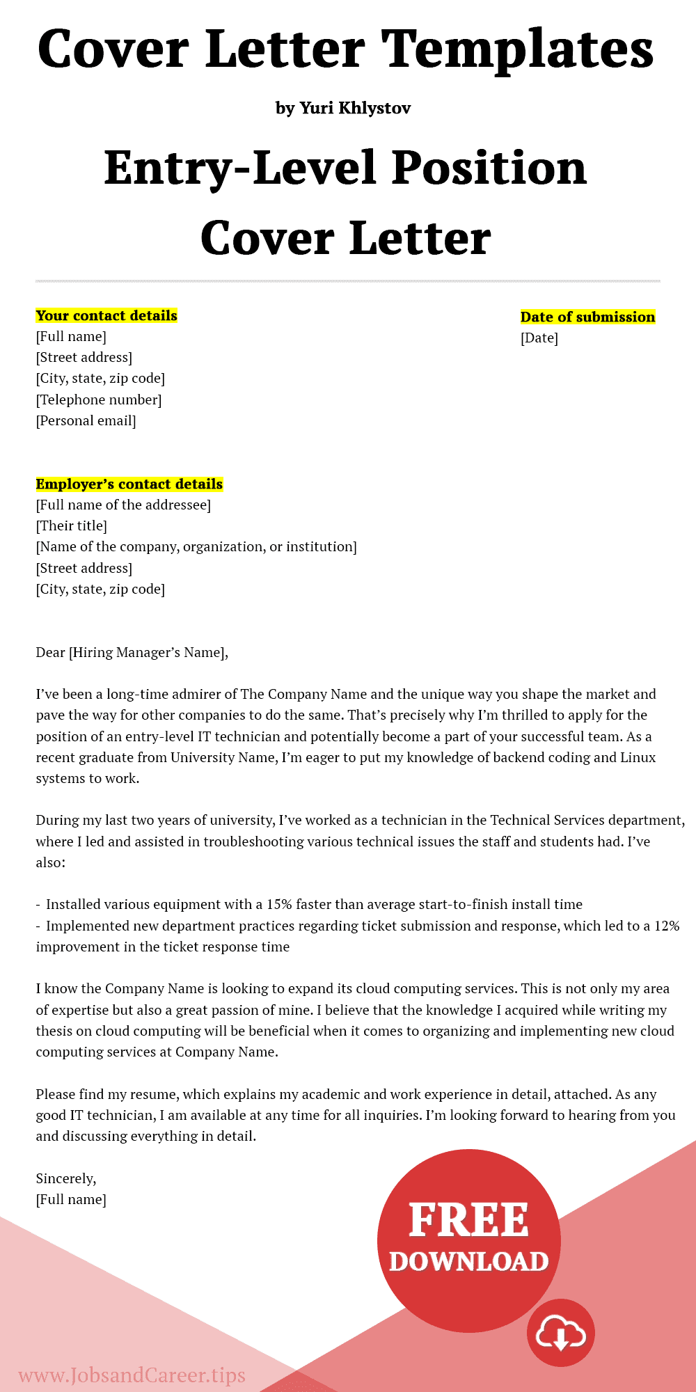 Click to download an entry-level position cover letter template