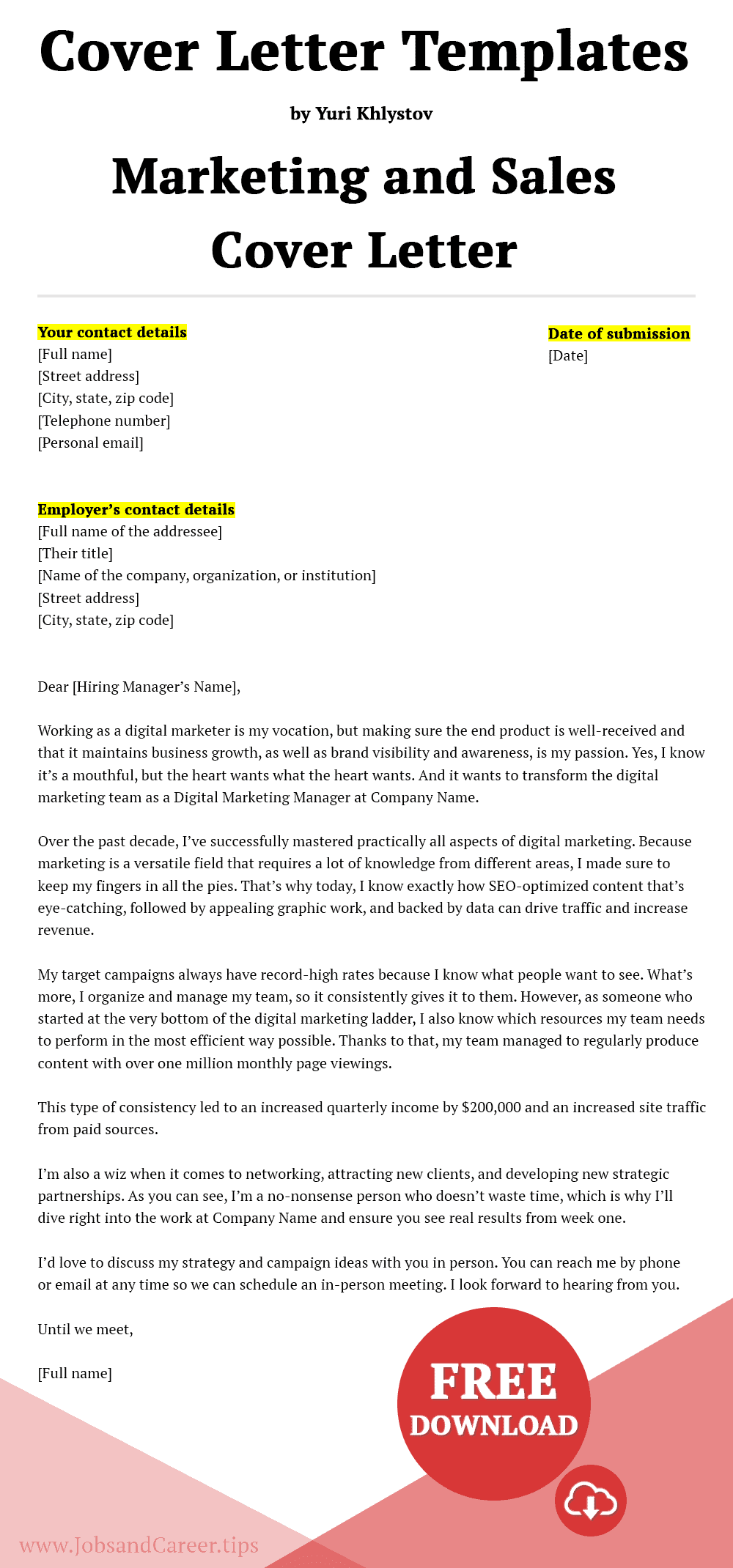 Click to download the marketing and sales cover letter template